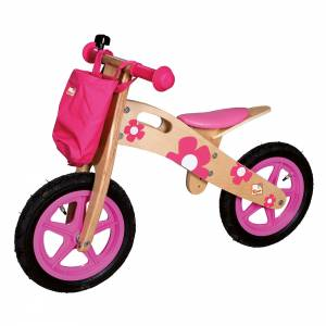 Wooden balance bike pink with flower